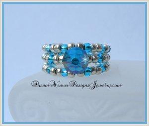 Aqua Swarovski Crystal and Silver Ring