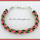 Neon Pink Flowers On The Vine Bracelet Kumihimo