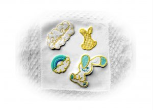 Sampler of Toddler/Baby  Embroidered Appliques. Bunny,Clouds,Rainbow