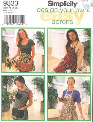 Simplicity 9333 Design Your Own Apron Pattern, Six Styles, Sz. Small-Large