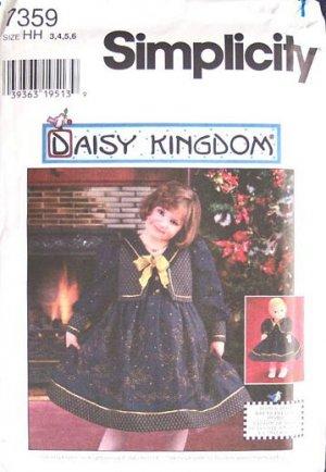 Simplicity 7359 Daisy Kingdom Girls, Doll Dress Pattern Sz.3-6
