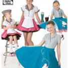 3836 Simplicity Sewing Pattern Retro 1950s Girls Car Hop and Poodle Skirt Size 7,8,10,12,14