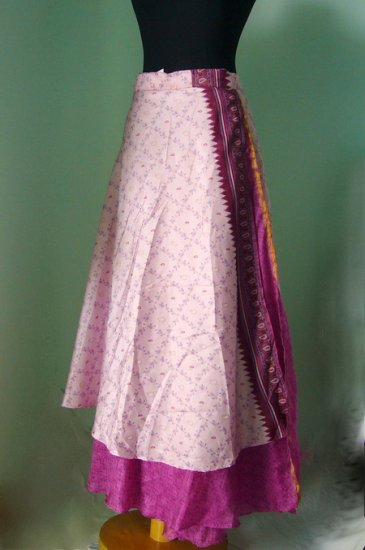 Long Wrap Silk Skirt ,Gypsy, Indian Style (sw101)