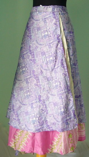 Long Wrap Silk Skirt ,Gypsy, Indian Style (sw102)