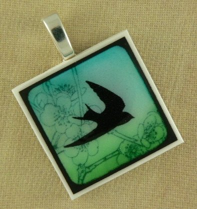 Bird in Flight Polymer Clay Pendant Necklace