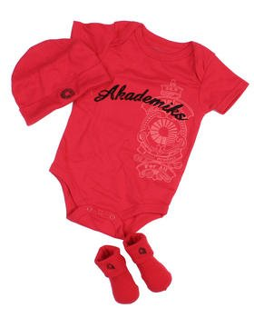 AKADEMIKS 3 Piece Layette Onesie Set Sizes 0 6 9 Months NEW