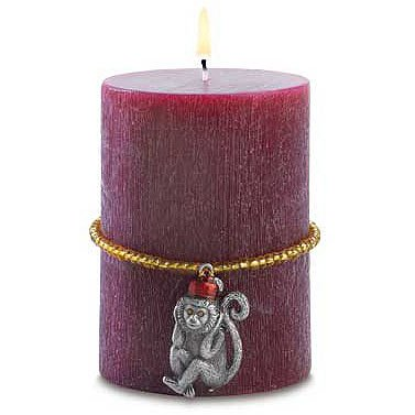 Tropical Candle with Monkey Charm