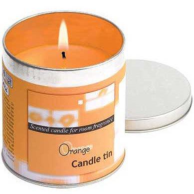 Orange Votive Candle In Tin
