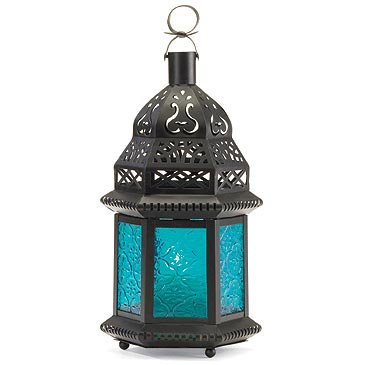 Lantern with Blue Glass