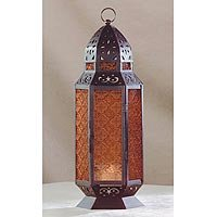 Amber Glass Candle Lantern