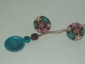 Aqua And Brown Reversable Necklace And Earrings