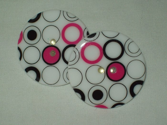 Large Black And White Post Earrings