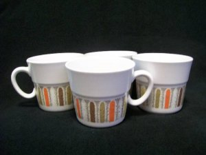Mardi Gras Noritake Japan Coffee Tea Cups Retro Art Deco Orange Gold 9019 Set 4