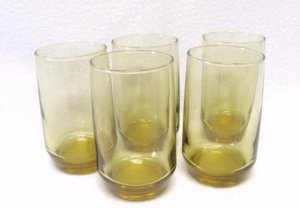 Amber Juice Glasses Retro Vintage Kitchen Glassware Set 5