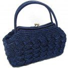 Caron Original Handbag Women's Japan Vintage Retro Purse Blue Wicker Large