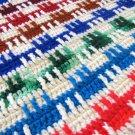 Colorful Vintage Afghan Crochet Handcrafted Blanket Throw Basket Weave