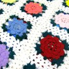 Crochet Afghan Blanket Vintage Throw Shabby Roses Granny Squares Flowers Colorful