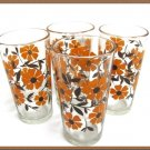Vintage Tea Glasses Retro Modern Orange Flowers Brown Set 4 Mint