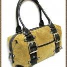 Brown Tan Suede Leather Handbag Wilsons Retro Doctors Bag Style Buckles Large
