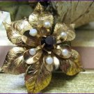 Vintage Brooch Coro Flower Gold Amethyst Stone Pearls Retro Fashion Jewelry