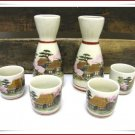 Japanese Saki Set Vintage Porcelain Flask Glasses 6 Piece