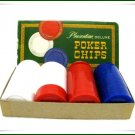 Vintage Poker Chips Deluxe Pleasantime 1963 Boxed Red White Blue Hollywood