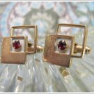 Vintage Retro Cufflinks Mod Squares Gold Tone Red Stone