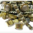 Retro Jewelry Bracelet Earrings Clip Pierced Silver Gold Chunky Bold Heavy Beaded