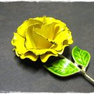 Vintage Enamel Brooch Mod Yellow Flower Retro Jewelry Funky Daisy Rose Pin