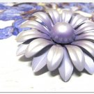 Large Vintage Enamel Brooch Flower Lavender Purple Pearl Retro Pin Funky Layers Fashion Jewelry