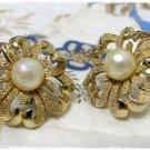 Trifari Earrings Gold Faux Pearl Retro Vintage Jewelry Mod Heart Flower Clip On