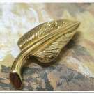 Monet Vintage Lapel Hat Pin Brooch Leaf Gold Petal Retro Fashion Jewelry