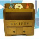 Cupboard Recipe Card Holder File Wood Kitchen Vintage Retro Decor Organizing