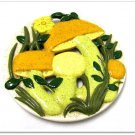 Retro Mod Mushroom Trivet Arnels Vintage Ceramic Kitchen Display Decor Dimensional Yellow Green