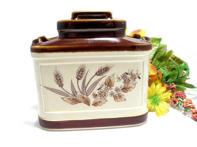 Vintage Art Pottery Napkin Holder Brown Drip Wheat Americana Signed Japan