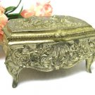 Vintage Jewelry Box Brass Gold Cupid Cherub Japan Collectible Trinket Home Decor