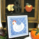 Vintage Cast Iron Tile Roosting Hen Trivet Chicken Country Blue Prim Decor Kitchen Display