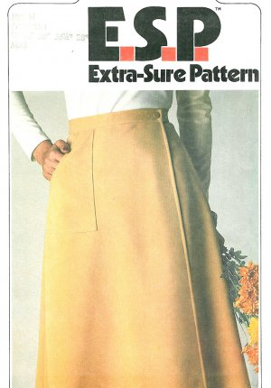 Easy Wrap Skirt Sewing Pattern Vintage 10-14 Knee Length Flared 8112