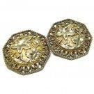 Vintage Avon Jose Barrera Earrings Antique Gold Ornate Scroll Leaf