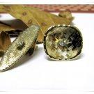 Mens Vintage Cufflinks Tie Bar Gold Rhinestone Germany Designer Handarbeit Retro Jewelry Set
