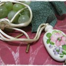 Vintage Porcelain Pendant Necklace Avon Flowers Blossoms Roses 1977 Fashion Jewelry