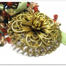 Vintage Flower Brooch Pin Ornate Renaissance Brass Filigree Retro Mod Jewelry