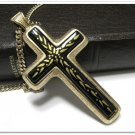 Vintage Mythology Cross Sarah Coventry Necklace Pendant 70s Gold Black Designer Jewelry