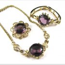 Kramer Amethyst Rhinestone Necklace Bracelet Brooch Vintage Designer Jewelry Set Purple Gold