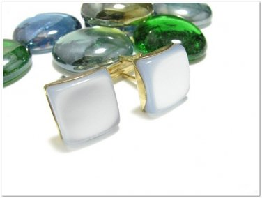 Mens Vintage Cufflinks Gold Pearl Blue Square Retro Mod Jewelry