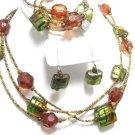 Sarah Coventry Necklace Earrings Bracelet Green Amber Art Beads Big Chunky Designer Jewelry