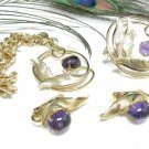 Sarah Coventry Brooch Bracelet Earrings Amethyst Leaf Gold Designer Vintage Jewelry 70s Fashion