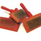 Vintage Dog Brushes Wood Red Metal Bristle Grooming Pet Display Set 3 50's