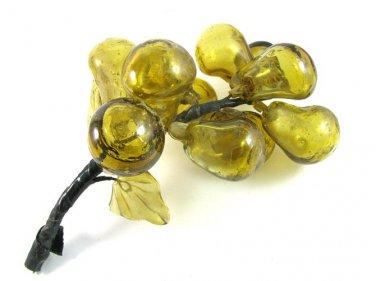 Vintage Cluster Fruit Fig Pear Handblown Murano Glass Amber Gold Retro Home Decor
