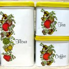Cheinco Metal Tin Canister Set Spice Of Life Mushroom Tomato Vine White Yellow 70's Kitchen Decor